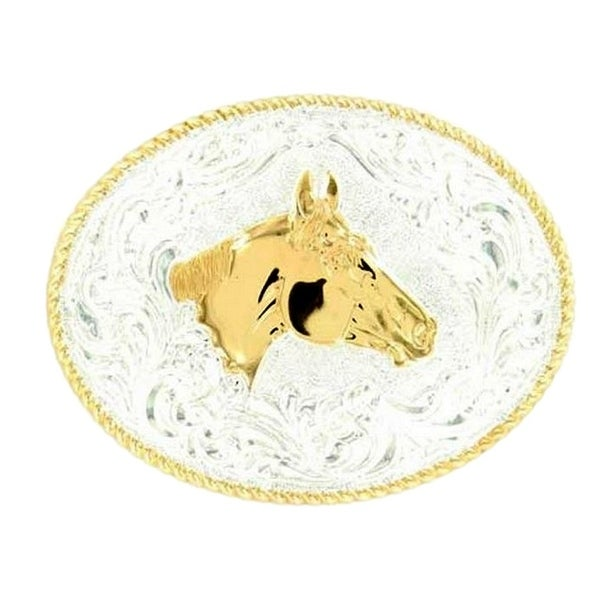 Crumrine Western Belt Buckle Horsehead Oval Roped Silver Gold - 3 1/2 x 4 1/2