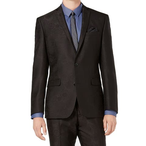 Bar III Mens Suit Seperate Black Size 34S Short Two Button Blazer