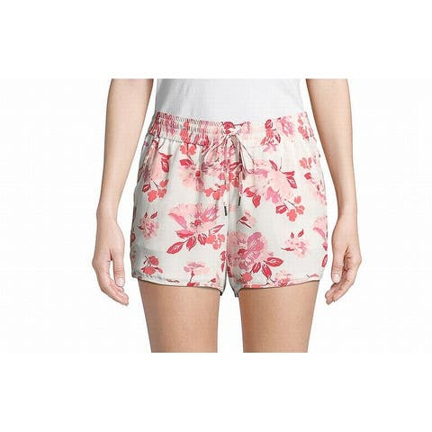 Joie White Pink Womens Size Medium M Flora Print Chiffon Shorts