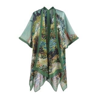 Women's Silk Kimono Fashion Jacket - Impressionist Garden Print - One size