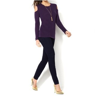 IMAN NEW Purple Womens Size Large L Cold-Shoulder Pullover Sweater