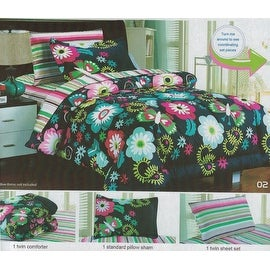 3 Pieces Comforter Twin Size with Sham Sheet Kids Butterfly Floral Garden Multi Color