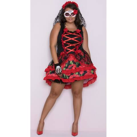 Plus Size Senorita Rose Costume, Hoty Day of The Dead Costume - As Shown