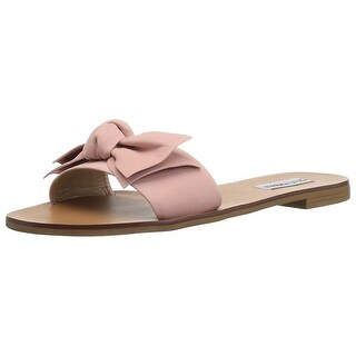 Steve Madden Womens Knotss Leather Open Toe Casual Slide Sandals