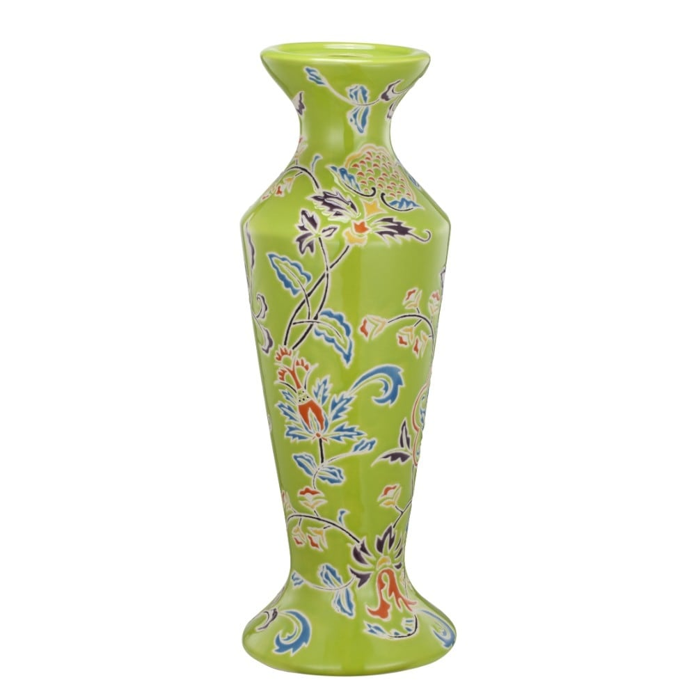Floral Patterned Ceramic Candle Holder With Flared Bottom, Multicolor