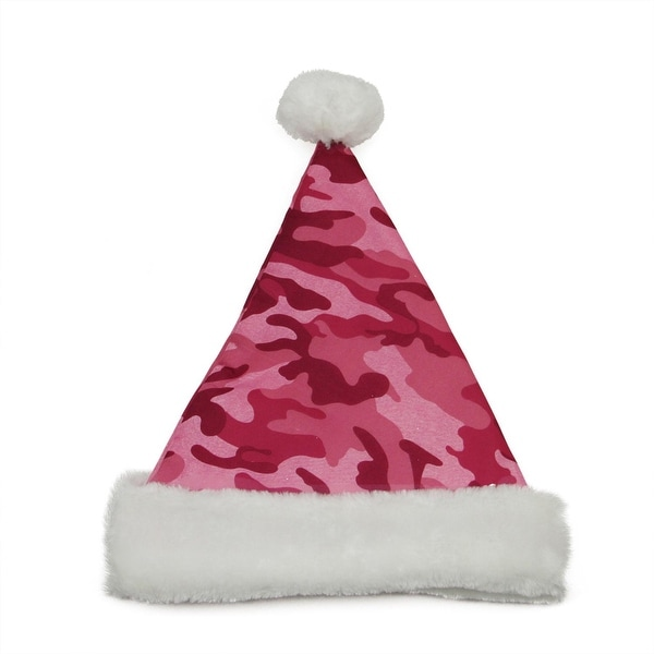 "14"" Pink Camouflage Christmas Santa Hat - Medium"