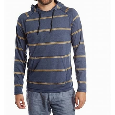 PX Men's Sweater Blue Size XL Hooded Striped Drawstring Pullover