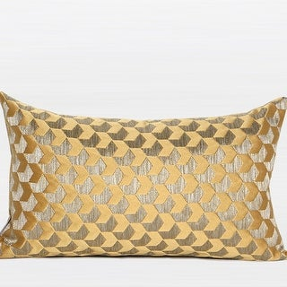 "G Home Collection Luxury Yellow Arrows Pattern Jacquard Pillow 12""X20"""