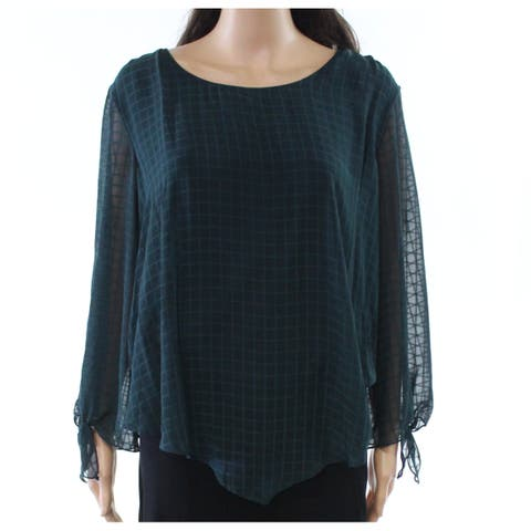AGB Deep Green Womens Size Large L Scoop Neck Tie-Sleeve Blouse