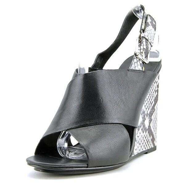 Ash Mood Women Open Toe Leather Black Wedge Heel