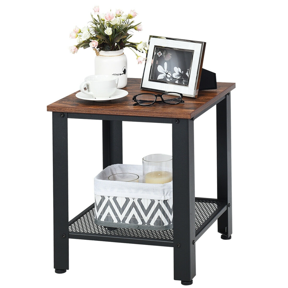 Gymax End Table 2 Tier