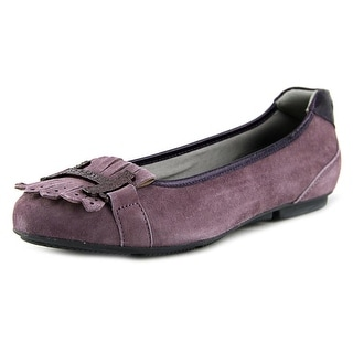 Hogan Wrap 144-Ballerina Frang+H Met. Vulc Women Round Toe Suede Purple Loafer