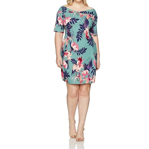 Junarose Green Womens Size 2X Plus Floral V-Neck Sheath Dress