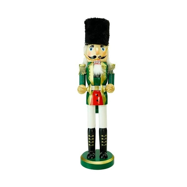 """14"""" Decorative Green, Gold and White Wooden Christmas Cymbalist Nutcracker"""