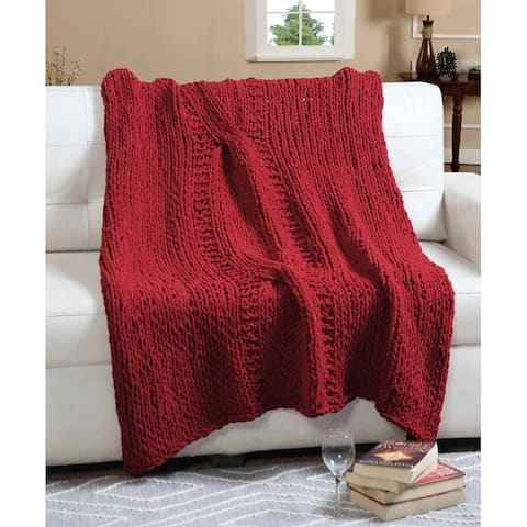 100 Percent Polyester Chenille Super Soft Chunky Knit Throw Blanket