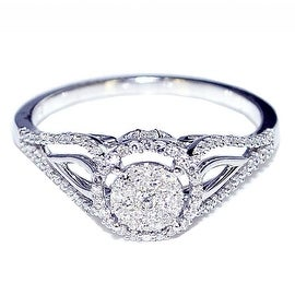 1/4cttw Diamond Vintage Engagement Bridal Ring 8mm Wide 10K White Gold(I/j Color 0.25cttw)