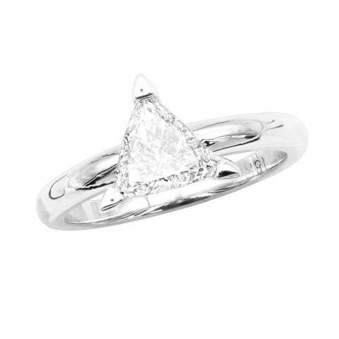 Trillion Cut Diamond Engagement Ring 0.75ctw in 18k Gold by Luxurman