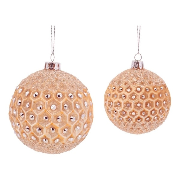 "6ct Luxury Lodge Peach Frosted Jeweled Glass Christmas Ball Ornaments 3.5"" - 4.25"" - ORANGE"