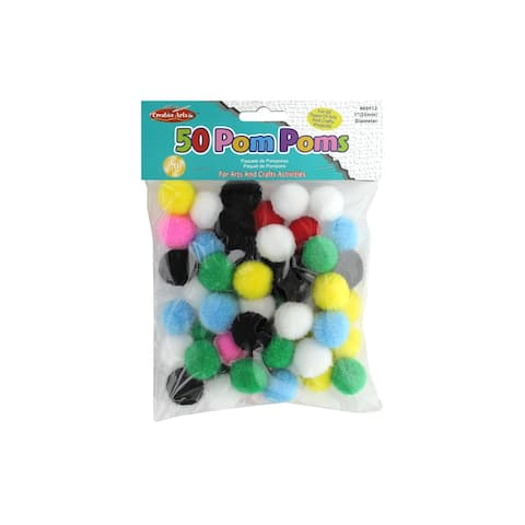 69512 creative arts pom poms 1 50pc bright astd