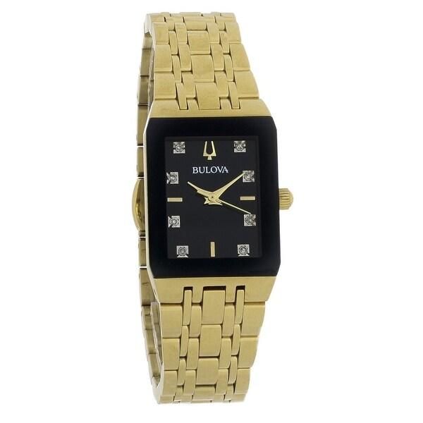 Bulova Women's 97P135 'Diamond' Gold-Tone Stainless Steel Watch - Black. Opens flyout.