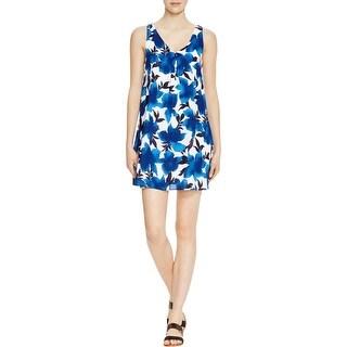 Aqua Womens Mini Dress Floral Print Criss-Cross Back