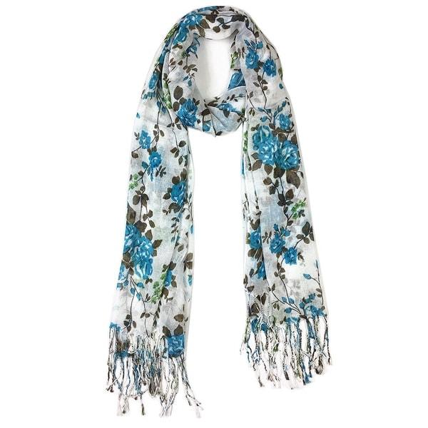 Women's Fashion Floral Soft Wraps Scarves - F1 Blue - Large