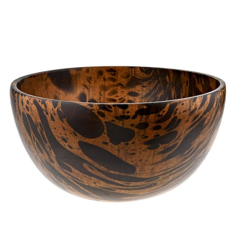 Handmade Versatile 10 Inches Mango Tree Wood with Dark Stain Serving Bowl (Thailand)