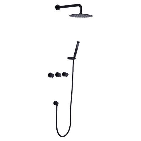Matt Black Round Shower Thermostatic Complete Shower System