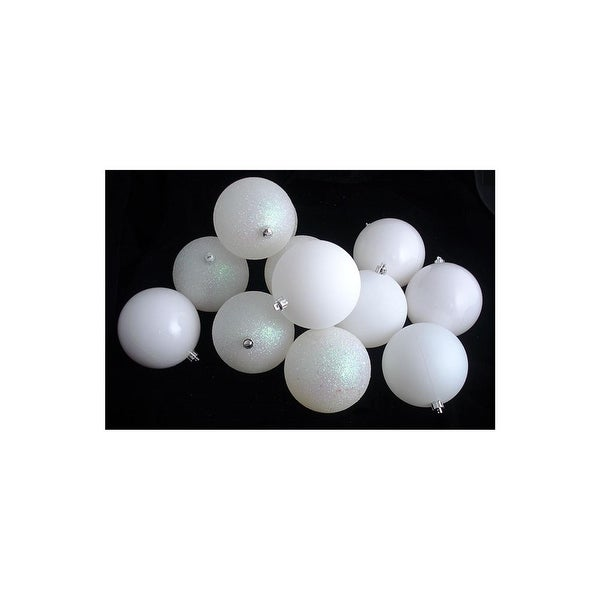 "16ct Winter White Shatterproof 4-Finish Christmas Ball Ornaments 3"" (75mm)"