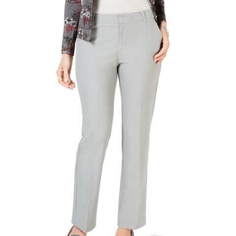 Charter Club Women's Dress Pants Gray Size 14 Straight Leg Stretch