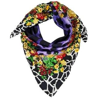 Versace VDA 9917 Purple Floral Safari Purple 100% Silk Scarf