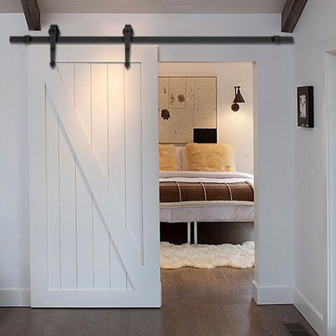 Costway 6 FT Black Modern Antique Style Sliding Barn Wood Door Hardware Closet Set