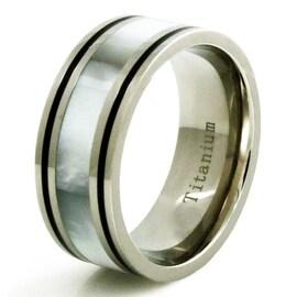 Titanium Luminescent White Shell Inlay Ring