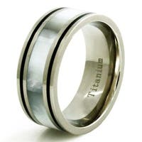 Titanium Luminescent White Shell Inlay Ring