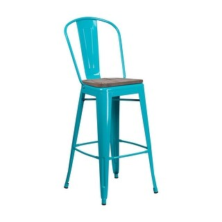 "Offex 30"" High Bistro Style Crystal Teal Blue Metal Barstool with Back and Wood Seat"