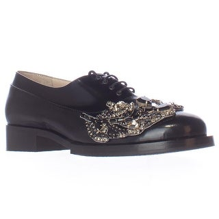 No21 8610 Embellished Jewel Oxford Flats - Black