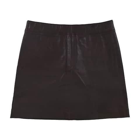 Helmut Lang Womens Stretch Leather Mini Skirt, Purple, 2
