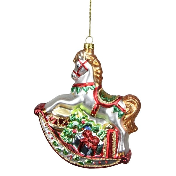 """5.25"""" White Glittered Traditional Rocking Horse with Gifts Glass Christmas Ornament"""
