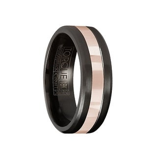 Brushed Black Cobalt Men's Wedding Band with Polished 14k Rose Gold Inlay by Crown Ring - 7.5mm