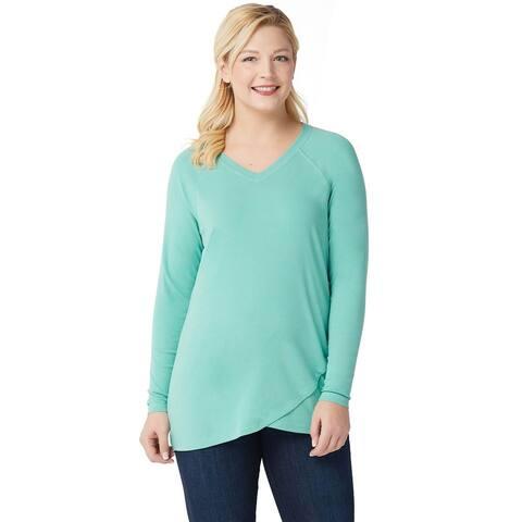 Isaac Mizrahi Womens Plus SOHO Raglan Sleeve Tulip Hem Top 1X Soft Jade A351123