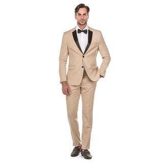Porto Filo 2 Pcs Beige Color Tuxedo Slim-Fit Men's Suit (Jacket+ Pant)
