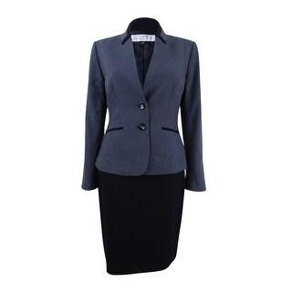 Tahari ASL Women's Petite Two-Button Skirt Suit - Grey/Black - 4P