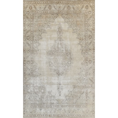 """Muted Distressed Tabriz Persian Area Rug Hand-knotted Wool Carpet - 9'10"""" x 12'9"""""""