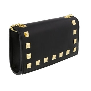 Scheilan  Black Leather Studded Mini Crossbody/Shoulder Bag