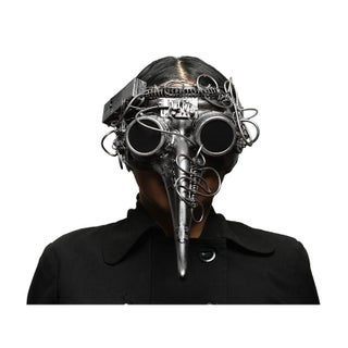 Metallic Steampunk Plague Doctor LED Light Up Mask w/Goggles