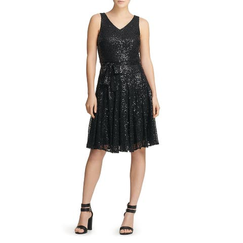 Donna Karan Womens Cocktail Dress Sequined V-Neck - Black