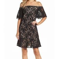 Eliza J Black Women's Size 6 Off-Shoulder Floral Lace Shift Dress