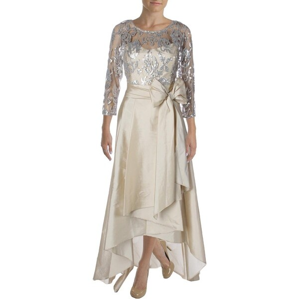 Adrianna Papell Womens Evening Dress Mesh Sequined