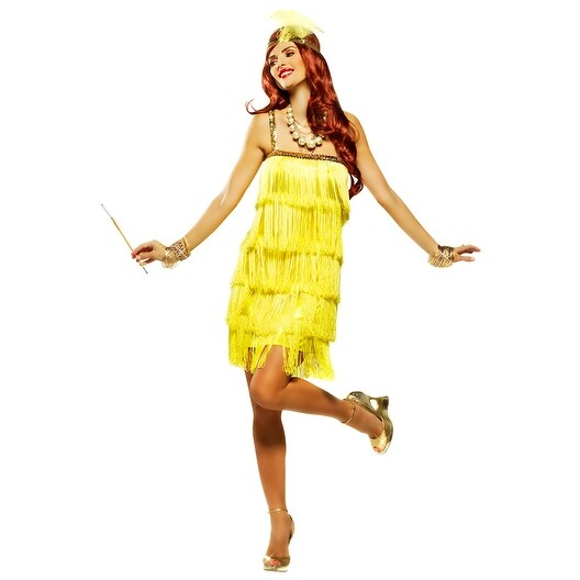 Goddessey Fifth Avenue Flapper Adult Costume (Yellow) - Yellow