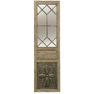 """StyleCraft SC-WI52415  19"""" x 66"""" Rectangular Flat Wood Framed Wall Mounted or Leaning Decorative Mirror - Natural Wood"""